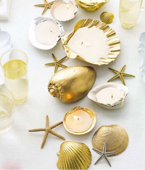 gold seashell decorations wedding