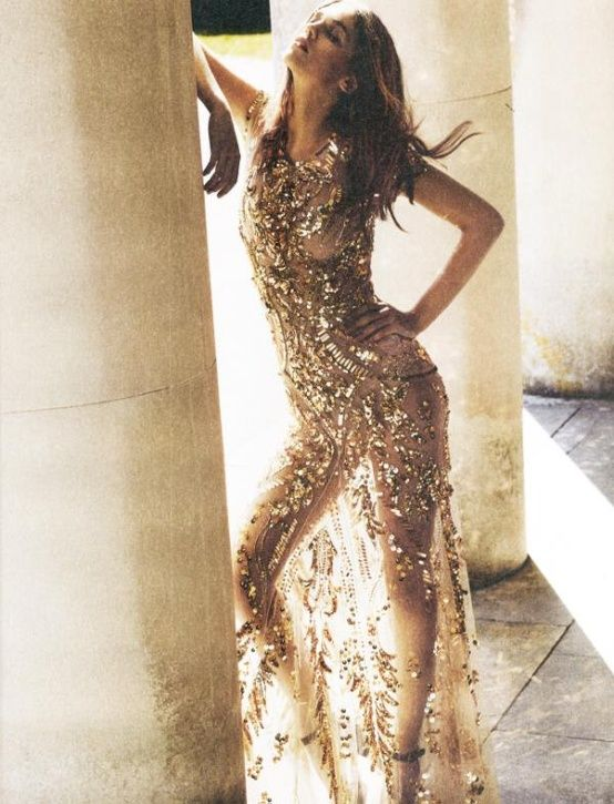 Gold sheer formal dress Once Wed