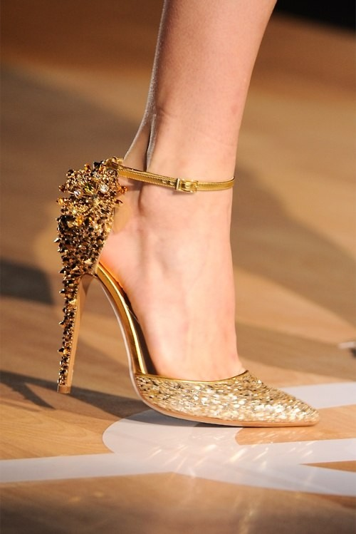 gold studded heel