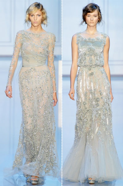 gray blue ivory gowns