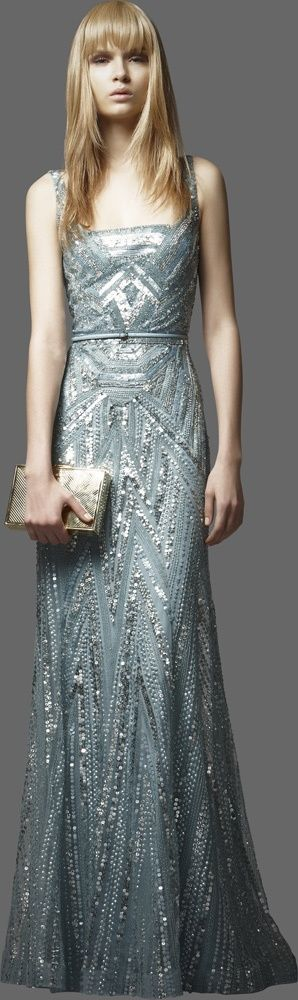 gray blue silver gown