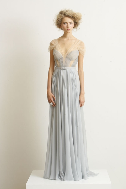 gray formal bridesmaid dress