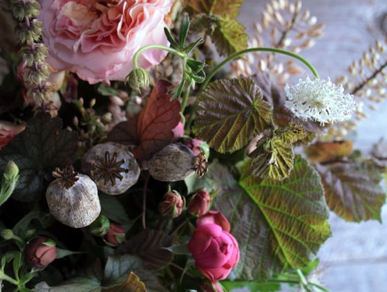 gray pink white green summer centerpiece