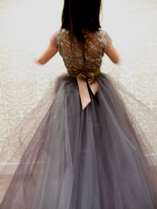 gray tulle sparkles bridesmaid dress