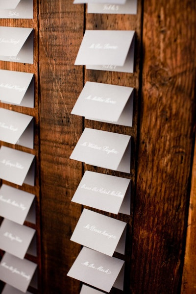 gray wall lines name cards