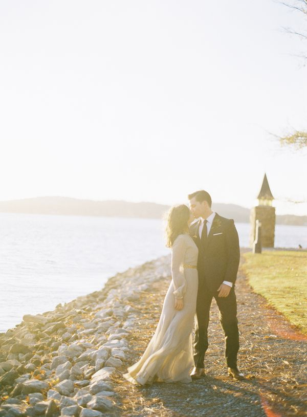 Gray Wedding Dress Lakeside Wedding