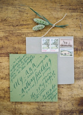 green and gray calligraphy