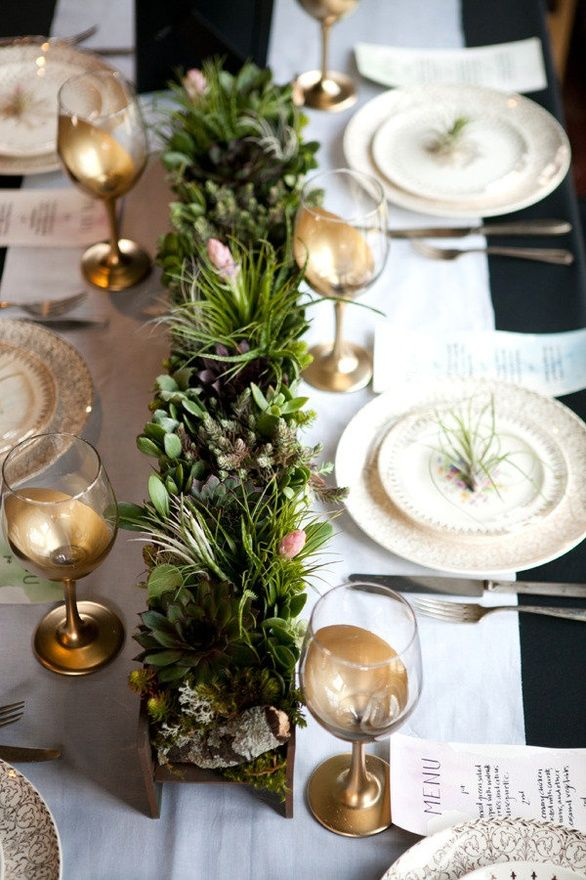 green centerpiece wedding decor