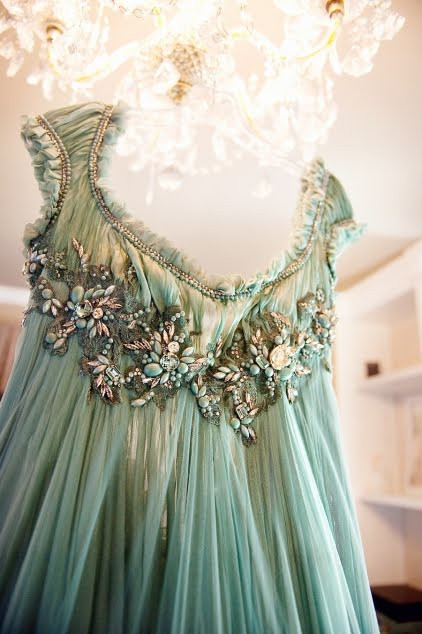green embellished gown