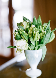 green flower wedding centerpiece white vase