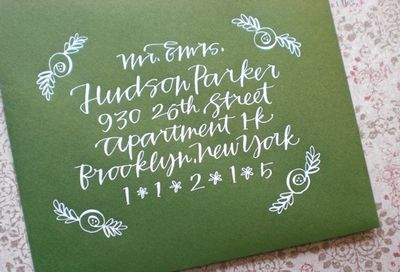 green white calligraphy invitation