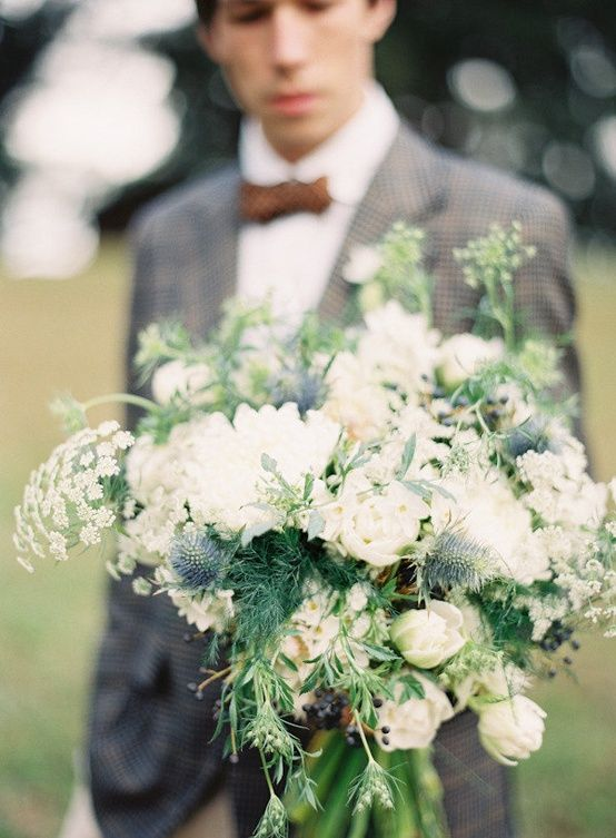 Groom White Bridal Bouquet