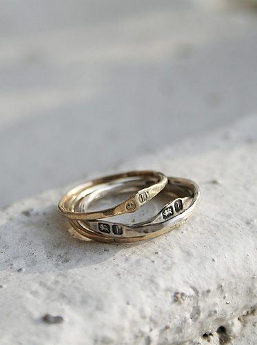 hammered rings gold