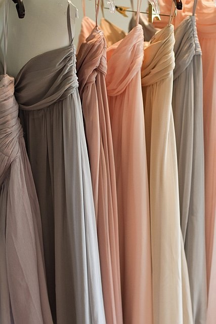 hanging neutral dresses