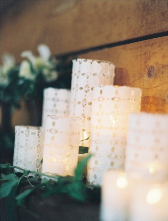 holiday diy project lace votives