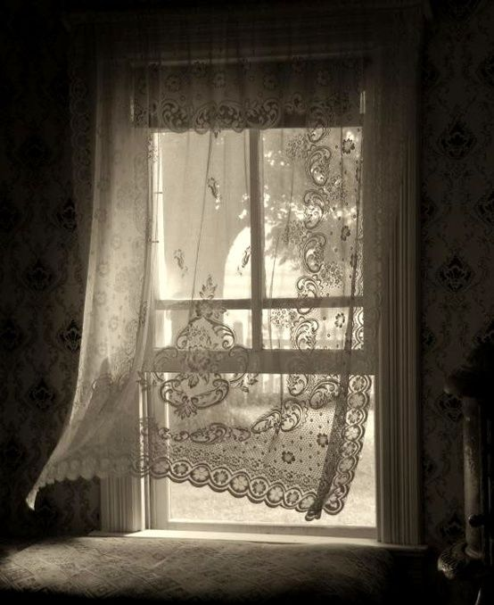 lace curtains white