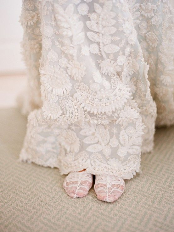 lace socks wedding day