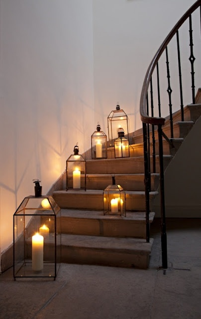 lanterns lining curve stairs