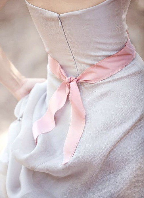 lavender gown pink sash