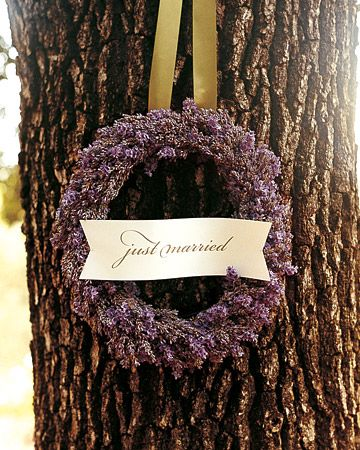 lavender wreath wedding ceremony decorations