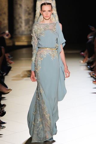light blue gold gown
