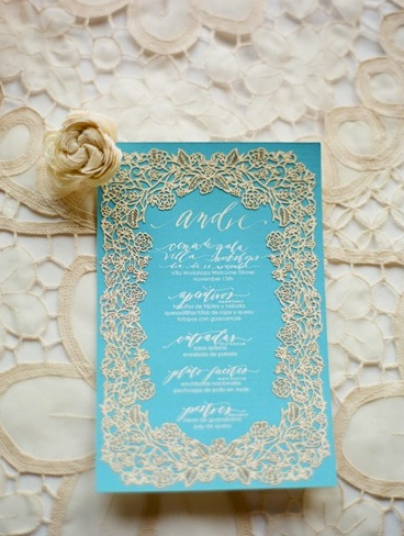 Light Blue Gold Wedding Invitation