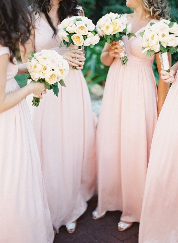 light pink formal bridesmaid dress