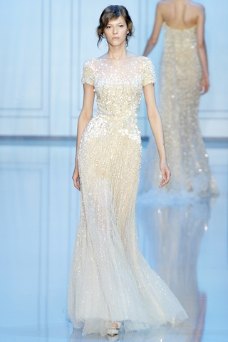 long ethereal white gown