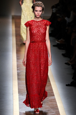 long floral red dress