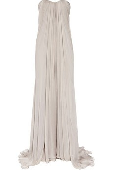 long gray strapless gown