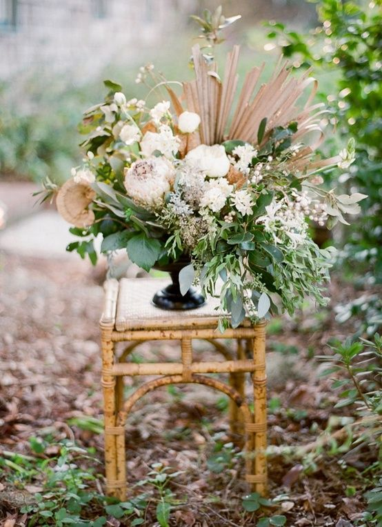 lowcountry charleston winter wedding arrangement
