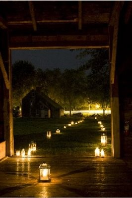 luminaria wedding lighting night
