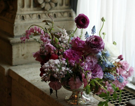 magenta centerpiece flowers