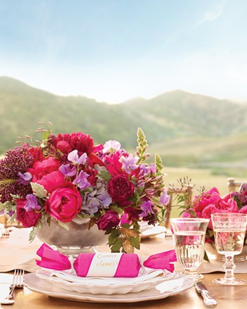 magenta flower centerpiece reception tables