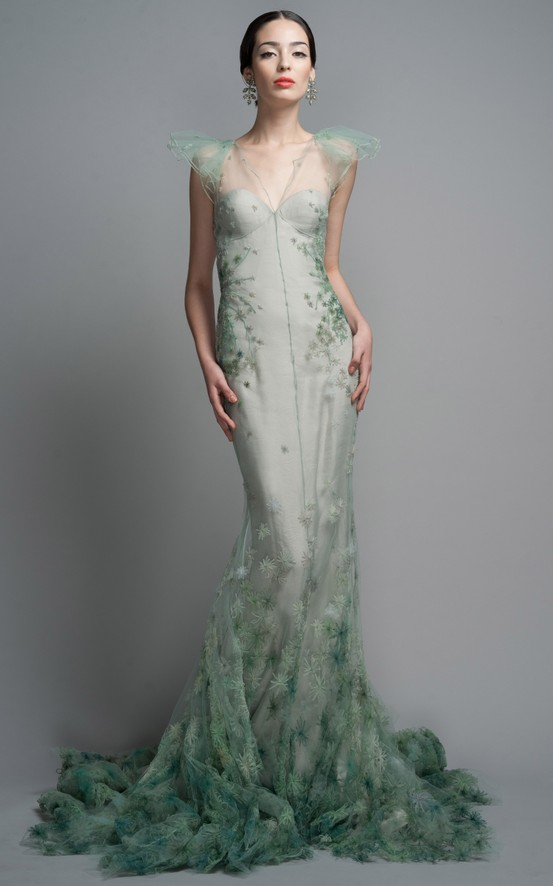 mermaid green trumpet dress