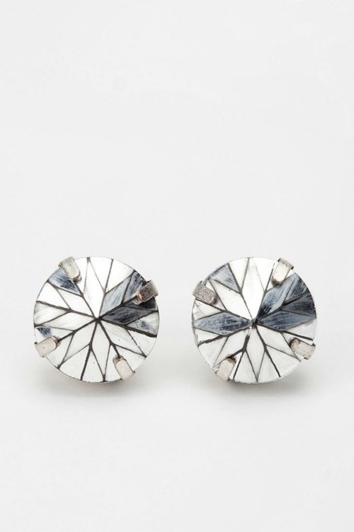 metallic silver stud earrings