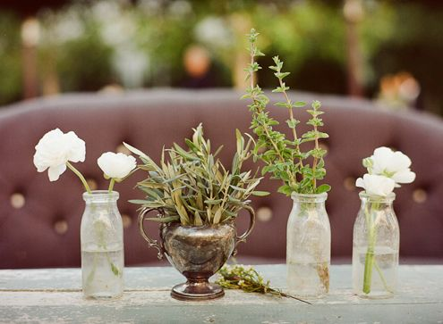 milk bottle wedding reception centerpieces