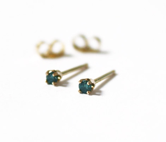 mini blue diamond stud earrings