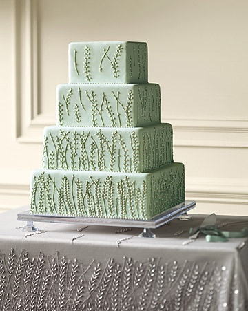 mint vine wedding cake