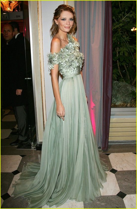 green celebrity gown