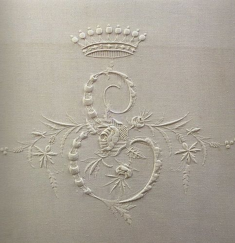 monogramed stitched gray linen