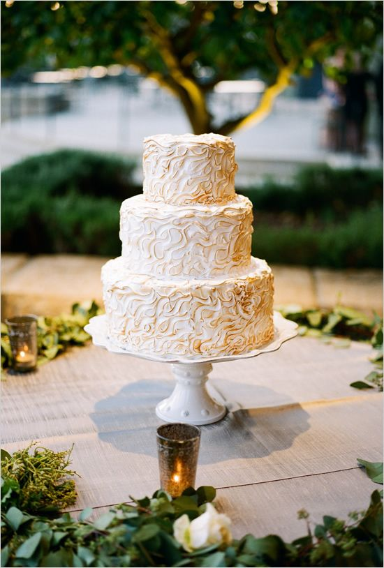 Montecito Wedding White Gold Cake
