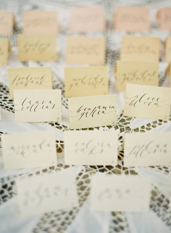 name cards calligraphy