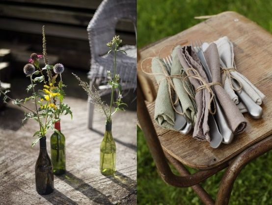 napkins linens glass bottles