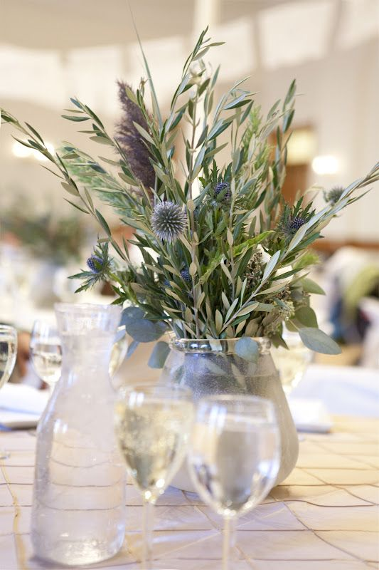 natural green purple wedding reception centerpiece