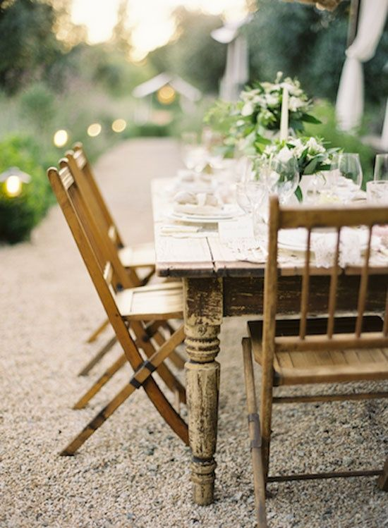 natural wood banquet table