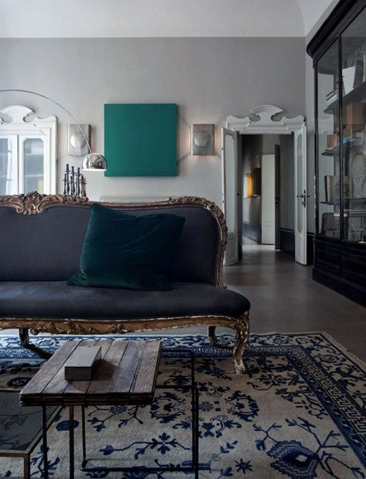 navy blue couch interiors