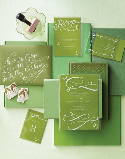 olive lime wedding invitations