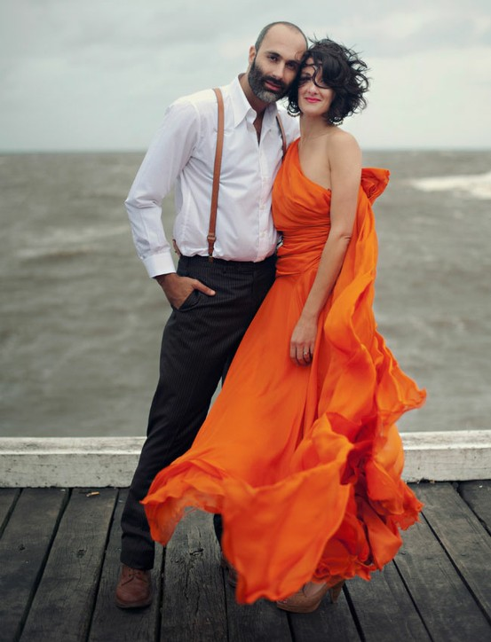 orange dress wedding
