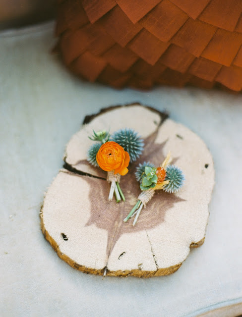 orange green boutonniere